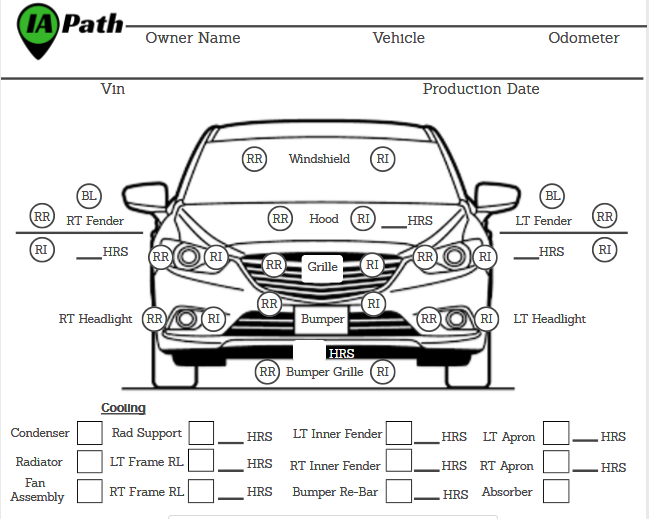 IA Path's Auto Damage Appraiser Scope Sheet