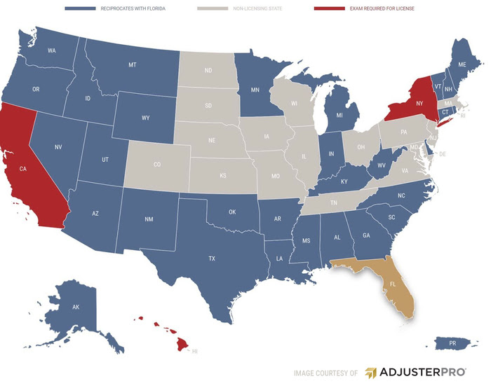 insurance adjuster license requirements by state reciprocal states